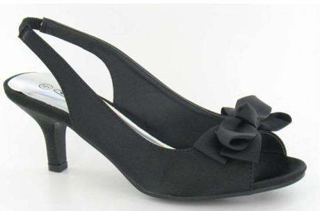 čierne saténové sandálky s mašličkou, 38