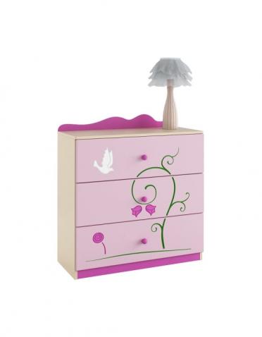 Ružová princeznovská komoda s 3-zásuvkami,