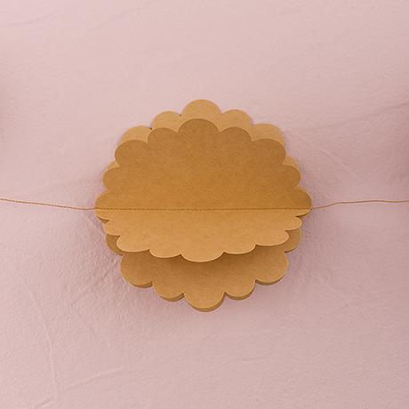 3D Kvetinová Papierová Girlanda - Hnedá,