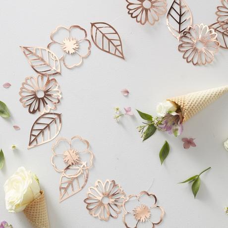 Girlanda - Trblietavé Kvety a Listy - Ružovo Zlatá,