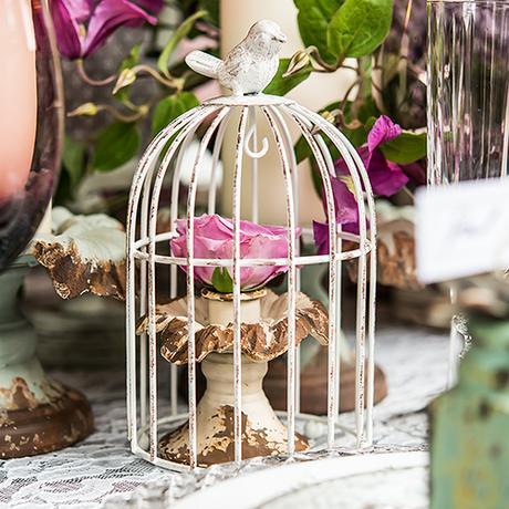 Kovová Vtáčia Klietka so Sviečkou - Malá,