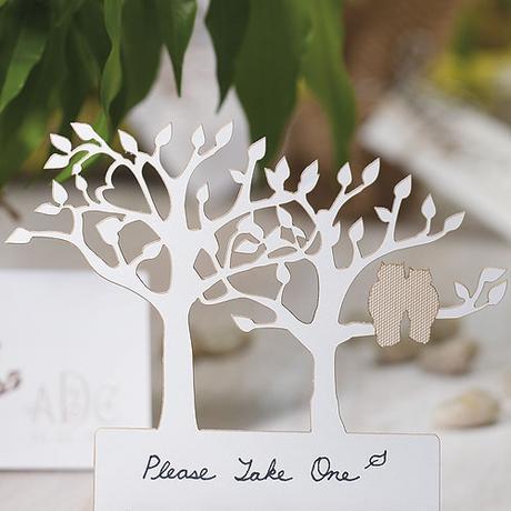 Menovky na stoly - Siluety stromov s párikom sôv,