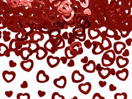 Metalické konfety - Červené srdcia,