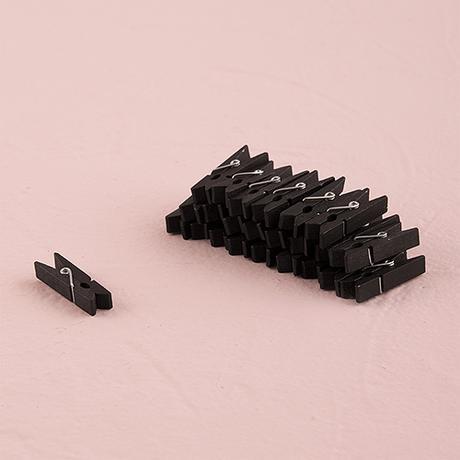 Mini Drevené Štipce - Čierna,