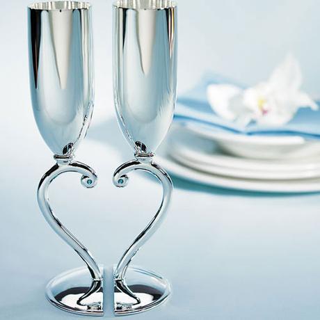 Svadobné poháre - Strieborné spojené srdce,