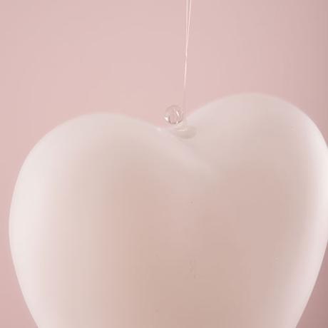 Závesné Sklenené Srdce - Biela - Veľké,