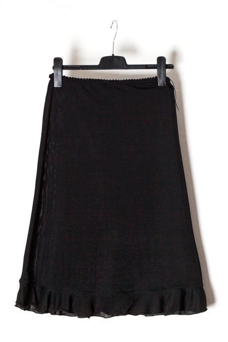 Černá dámská sukně s volánkem s pružného materiálu, 42