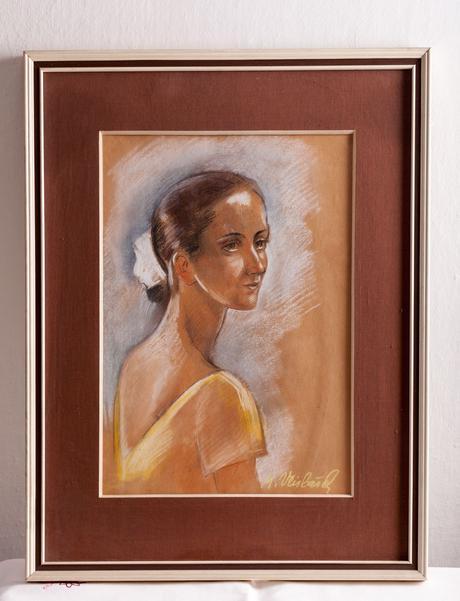 Signovaný obraz v rámu, portrét,