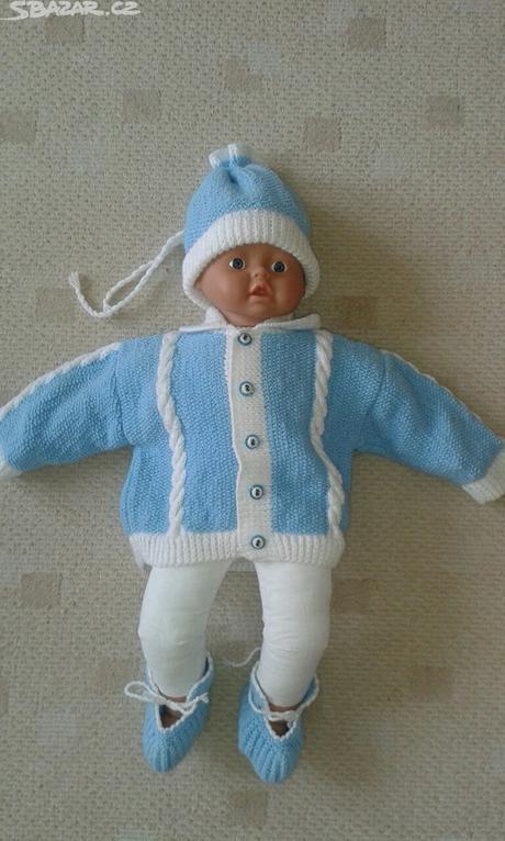 Dětský pletený svetr, čepička a capáčky, 74