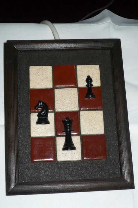 plastický obrázok na stenu - šachovnica,