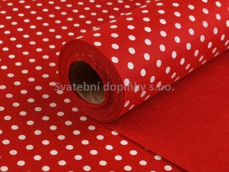 Dekorační plsť šíře 41 cm s puntíky - červený,
