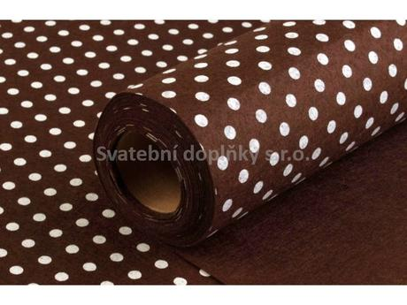 Dekorační plsť šíře 41 cm s puntíky - hnědý,