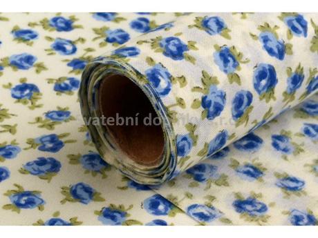 Dekorační tkanina - růže modré 5 m,