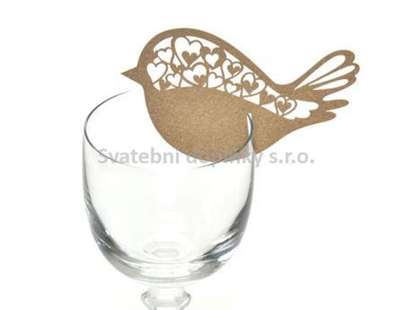 Jmenovka na sklenici ptáček , cappuccino 10 ks,