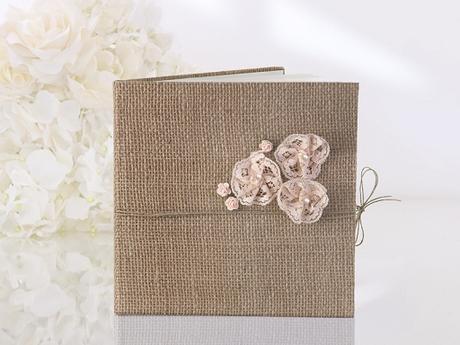 Jutová kniha hostů - růžové kytičky,