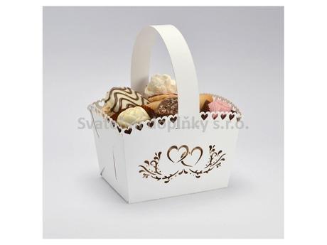 Košíček na cukroví bílý, srdce 10 ks,