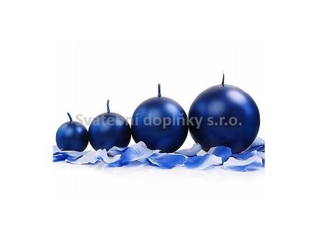 Kulatá svíčka modrá tmavá perleťová,