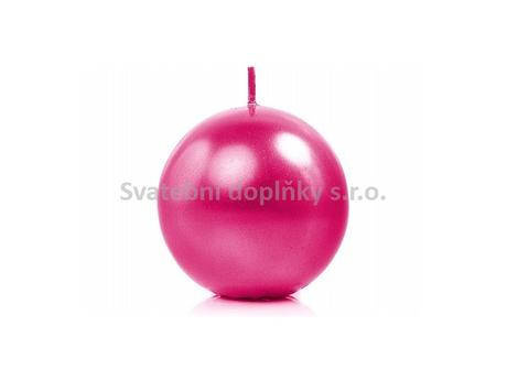 Kulatá svíčka růžová tmavá perleť - fuchsie,