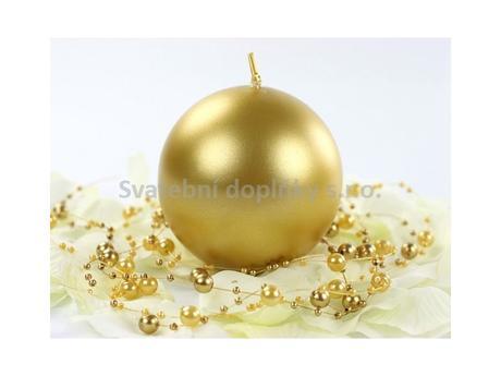 Kulatá svíčka zlatá perleťová,