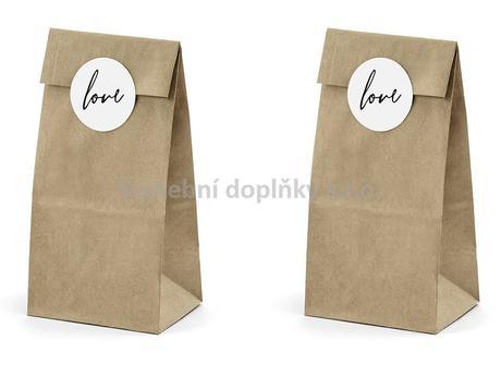 """Papírový sáček hnědý s nápisem """" LOVE """" 6 ks,"""