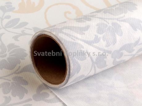 Šerpa papírová bílá se zlatým a stříbrným dekorem,