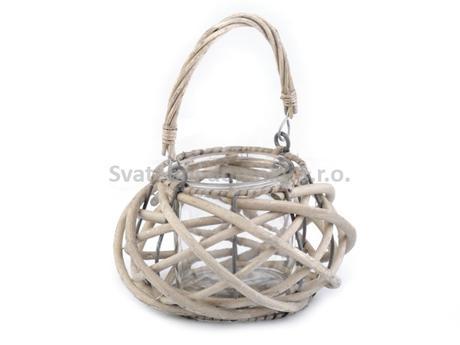 Skleněná lucerna v proutěném košíčku, přírodní,