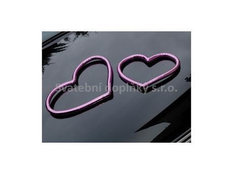 Srdce - barva tmavě růžová 2ks,