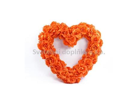 Srdce na auto prázdné 50 cm, oranžové,