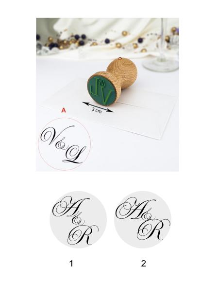Svatební razítko monogram - 3 cm / písmo psané,