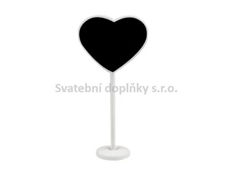 Tabulka srdce se stojánkem bílá 1 ks,