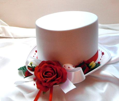 autokorsáž- cylindr s červenou růží,