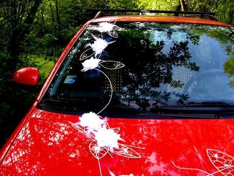 """dekorace auta """"Krajkové květy bílé"""" zapůjčení,"""