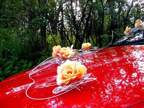 """dekorace auta """"Krajkové květy - žluté"""" zapůjčení,"""