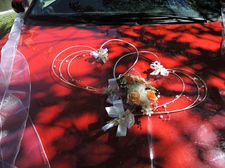 "dekorace na auto ""Bílá,lososová,meruňková"","