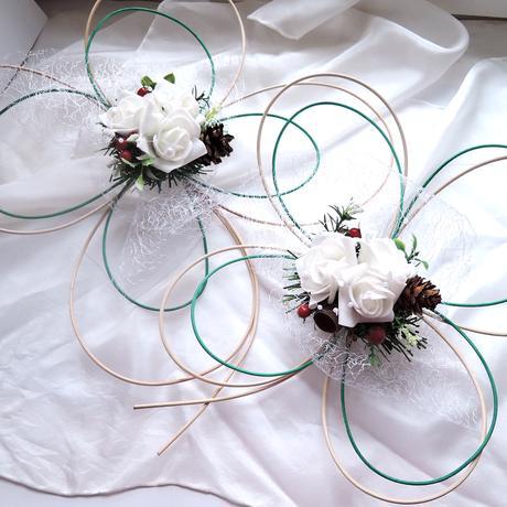 """Dekorace na svatební auto - """"Dva čtyřlístky"""","""