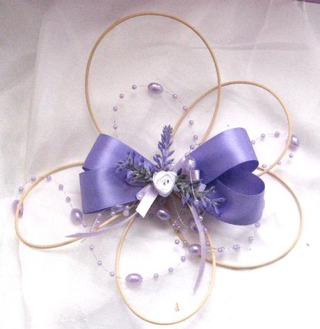 Dekorace na svatební auto - květ s levandulí,