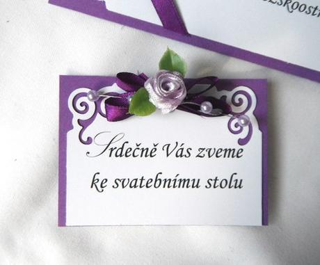 """luxusní svatební oznámení """"fialové ornamenty"""","""