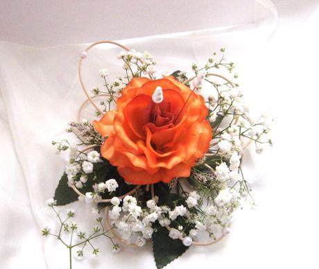 """podložka pod prstýnky """"Oranžová růže"""","""