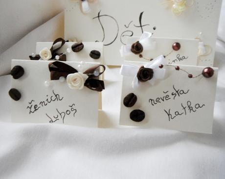 Sada k dekoraci svatebního stolu  -káva,