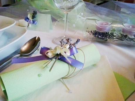 Sada k dekoraci svatebního stolu- levandule a máta,