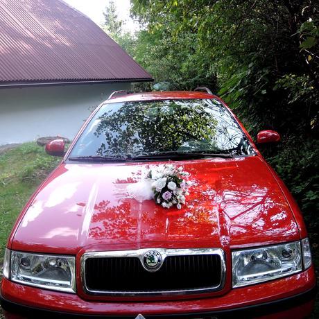 """svatební auto - """"Bílé růže s lila"""","""