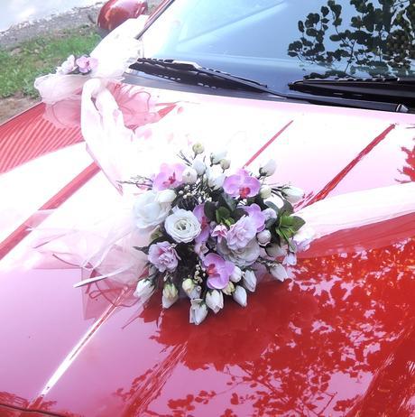 """svatební auto - """"Bílé růže s růžovou a orchidejí"""","""