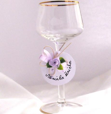 svatební jmenovka - nálepka na skleničku,