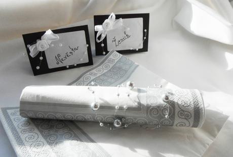 Svatební jmenovky - černobílé,