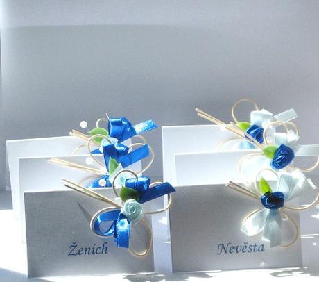 Svatební jmenovky - modrá - modrá,