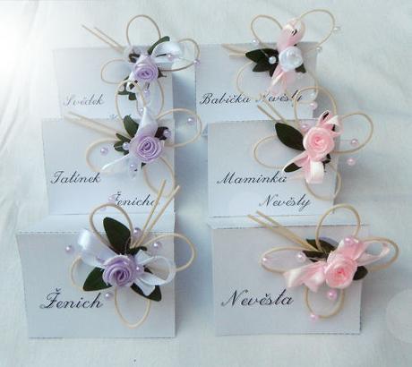 Svatební jmenovky - růžová-fialová,