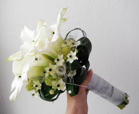 Svatební kytice- kaly a ornithogalum,