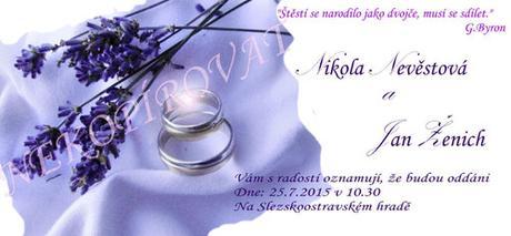 Svatební oznámení - prstýnky a levandule,