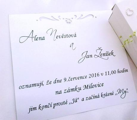 Svatební oznámení v krabičce- kávové,