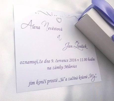 Svatební oznámení v krabičce- s levandulkou,